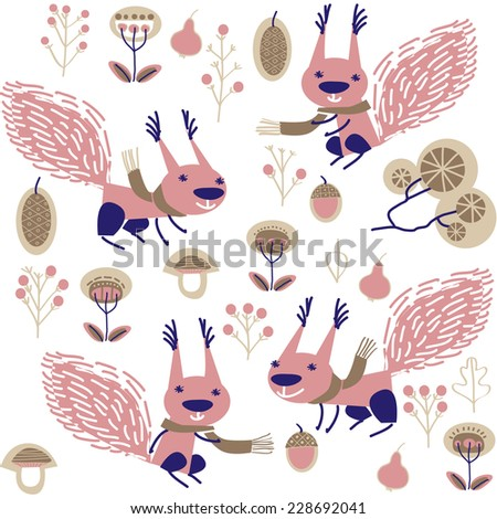 vector background with squirrel - stock vector