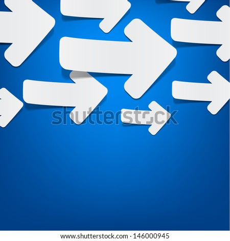 Vector background with sticky white paper arrows over blue. Eps10. - stock vector