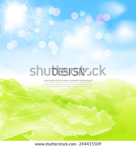 vector background with sun, blue sky - stock vector