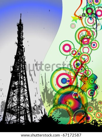 Vector background with Television tower - stock vector