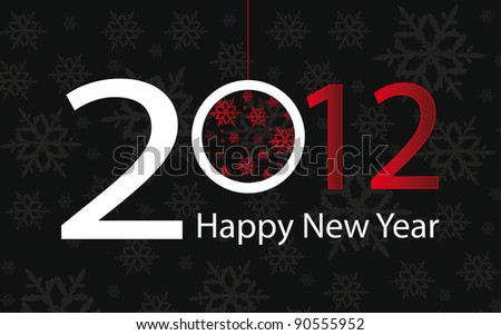 Vector background with text 2012 and happy new year - stock vector