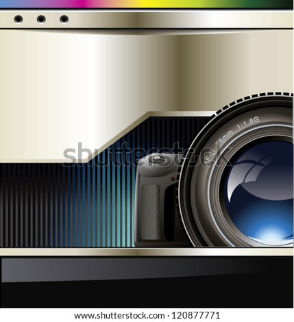 Vector background with the camera and place for text - stock vector