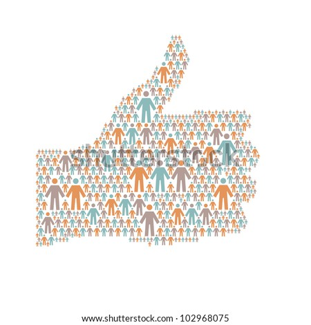 """Vector background with the hand of thumbs up symbol, which is composed of people colorful icon. Abstract illustration with silhouettes of person and sign """"well"""". Social media concept for web template - stock vector"""