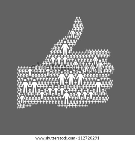 Vector background with the hand of thumbs up symbol, which is composed of people icons. Abstract dark illustration with white silhouettes of person, sign like. Social media concept for web template - stock vector