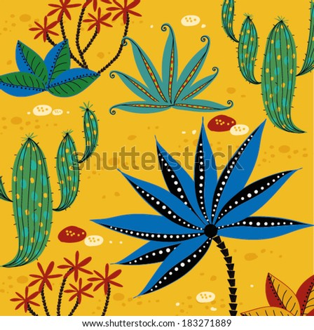 Vector background with the plants and cactus. - stock vector