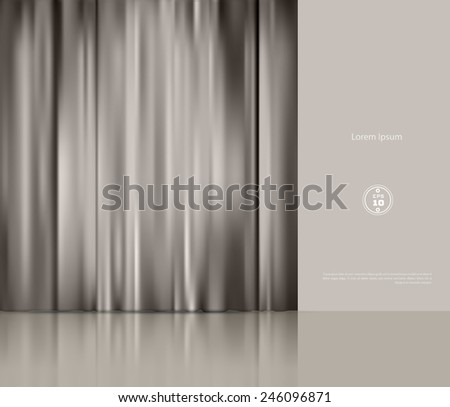 vector background with theatre curtain - stock vector