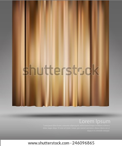 vector background with theatre curtain on the grey background  - stock vector