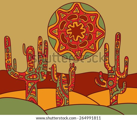 Vector background with traditional mexican ornament. Vector illustration of cactus and sun. - stock vector