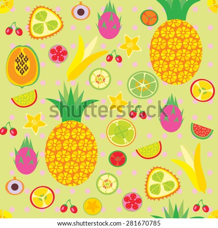 vector background with tropical fruits - stock vector