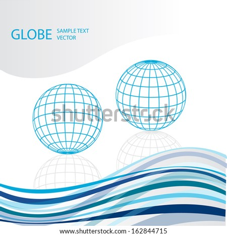 vector background with two blue grid globes - stock vector