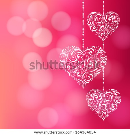 Vector background with Valentine's Day decoration for your design. Vintage ornamental hearts on defocus background. Invitation or greeting card