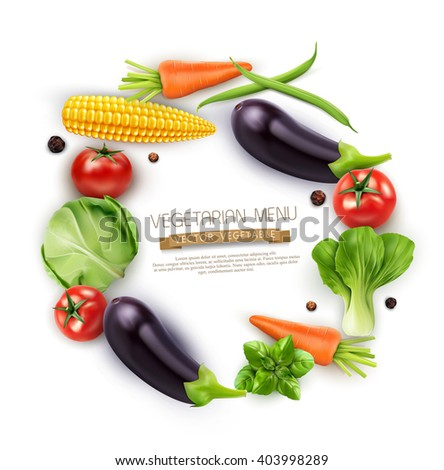 vector background with vegetables in a circle (tomato, cabbage, eggplant, peppers, corn, beans, carrots) isolated on white background - stock vector