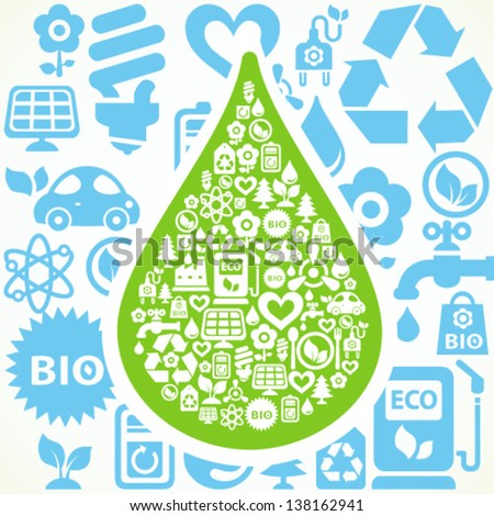 Vector background with water drop shape contained from ecology icons - stock vector