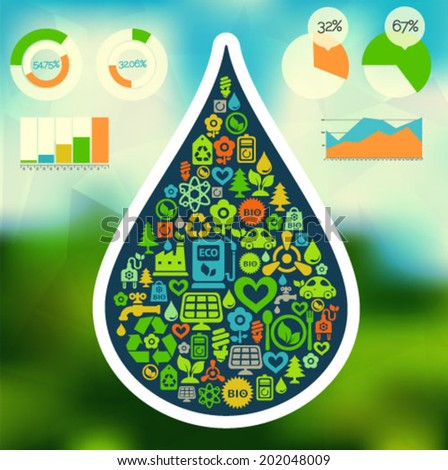 Vector background with water drop shape contained of ecology icons - stock vector