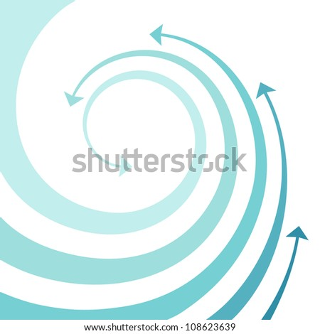 Vector background with wave of blue twisted arrows. Abstract illustration with concept of movement and water with space for text. Simple design element for print and web - stock vector