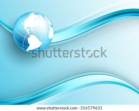 vector background with wavy lines and globe. Eps10 - stock vector