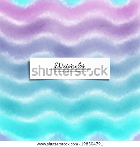 Vector background with wavy watercolor pattern. Hand drawing. - stock vector