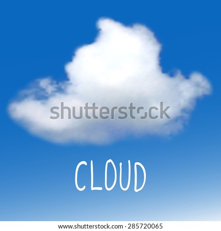 Vector background with white cloud on a blue sky - stock vector