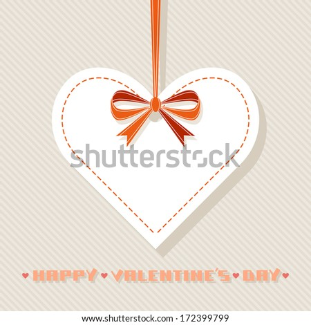 Vector background with white paper heart, red ribbon, bow. Original design element. Simple festive label. Greeting, invitation card with sample text Happy Valentine's Day. Illustration for print, web - stock vector