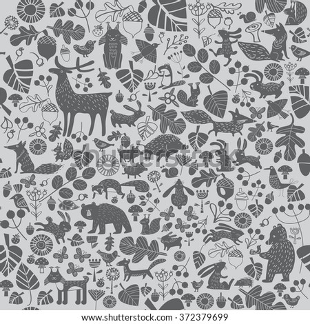 vector background with wild animals - stock vector