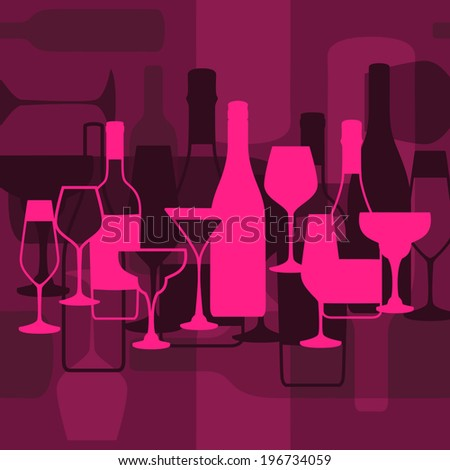 Vector background with wine bottle and glasses for restaurant, cafe or bar menu
