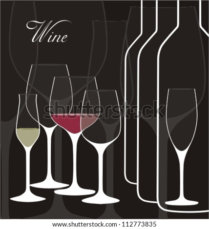 Vector background with wine glasses. Good for restaurant or bar menu design - stock vector