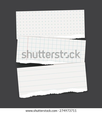 Vector backgrounds set as torn realistic school paper banners - square checked, lined and dotted pattern - stock vector