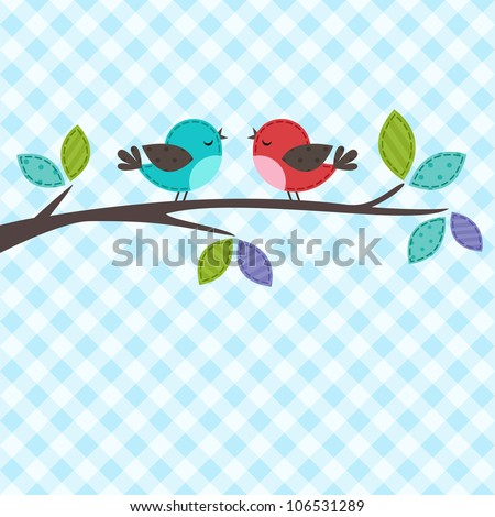 Vector backgrounds with couple of birds on the branch - stock vector