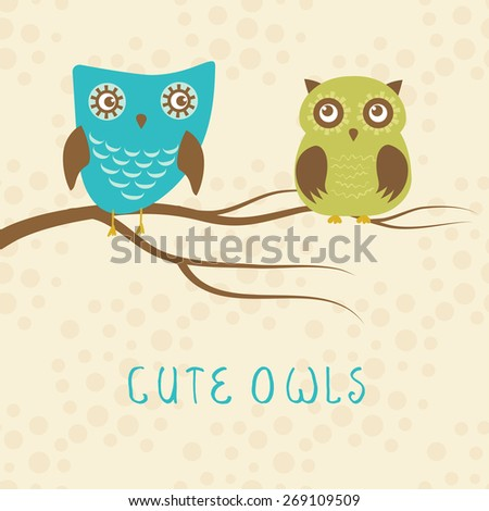 Vector backgrounds with couple of owls on the tree branch. Cute vector illustration for greeting card, invitation or wallpaper design. - stock vector