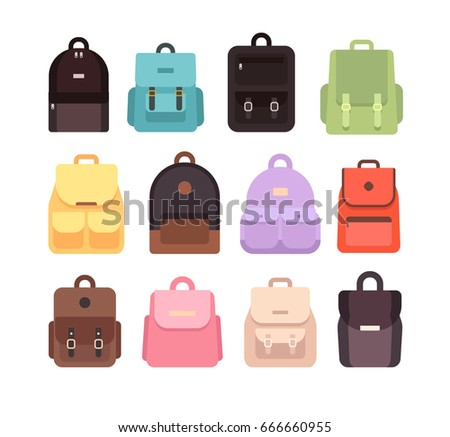 vector backpack set.bag icons isolated on white background
