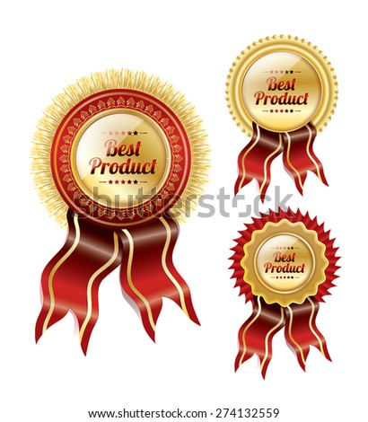 Vector Badge set of red ribbons and golden medals - stock vector