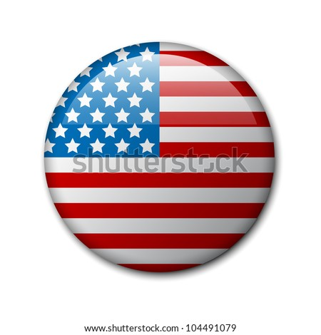 Vector badge with american flag (independence day badge) - stock vector