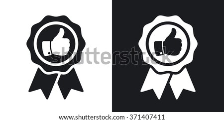 Vector badge with thumbs up icon. Two-tone version on black and white background
