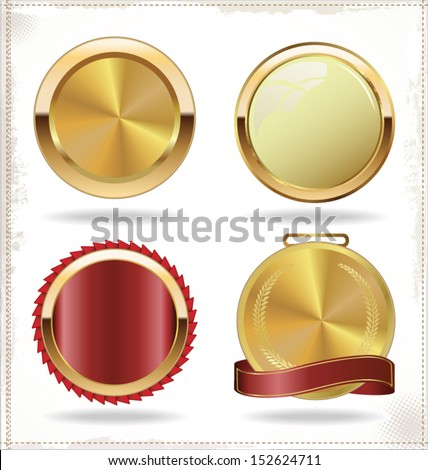Vector badges of gold and red seal set - stock vector