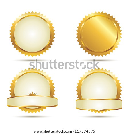 Vector Badges of Gold Seal Set - stock vector