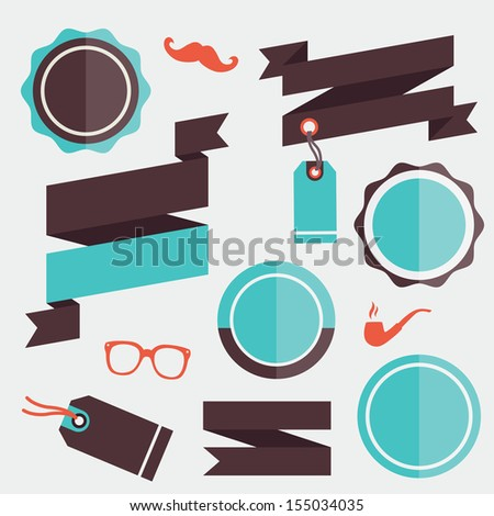 Vector Badges Stickers Labels and Ribbons Set 2 - stock vector