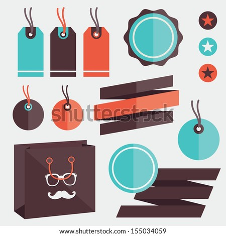Vector Badges Stickers Labels and Ribbons Set 3 - stock vector