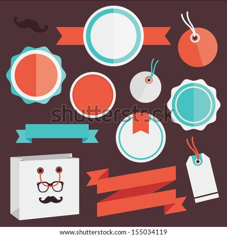 Vector Badges Stickers Labels and Ribbons Set 4 - stock vector
