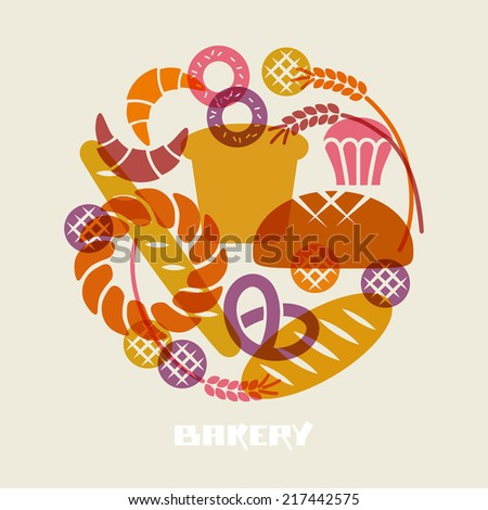 Vector baked goods icons. Set of flour products from bakery or pastry shop. Food sign. Illustration for print, web. Circle design element - stock vector