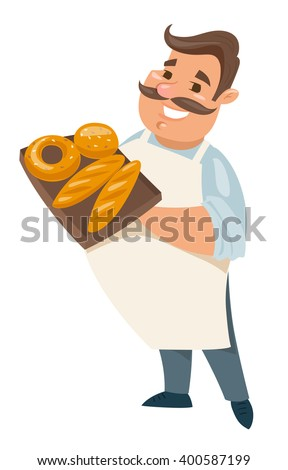 Vector baker character. Cartoon happy baker. Man character.  - stock vector
