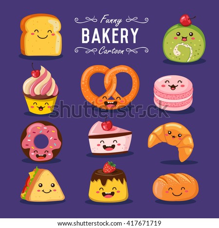 Vector bakery and sweet cartoon characters illustration set.