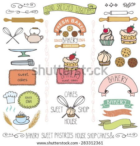 Vector Bakery Badges,Labels,logos.Vintage, Retro hand sketched doodles design elements (pie, wheat ear, cake icons,cookware).Doodle  Logotype maker template,cakery,baked sweet shop - stock vector