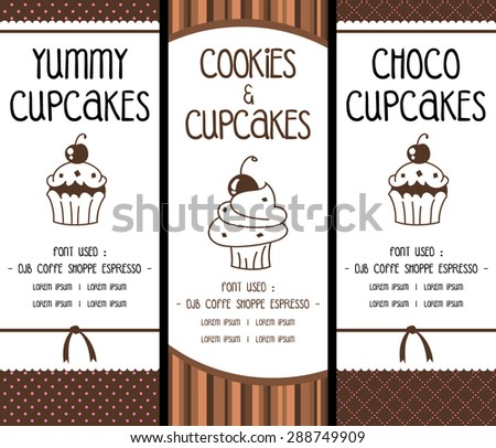vector bakery cookie and cupcake banner with pink soft background - stock vector
