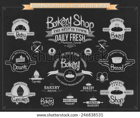 Vector Bakery Logos, Labels, Badges and Design Elements - stock vector