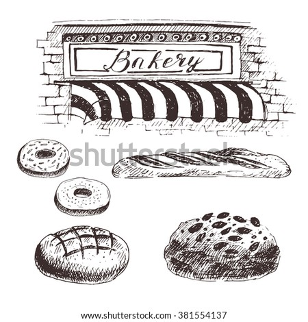 Vector Bakery Products Sketch Drawing Bread Buns French Baguette