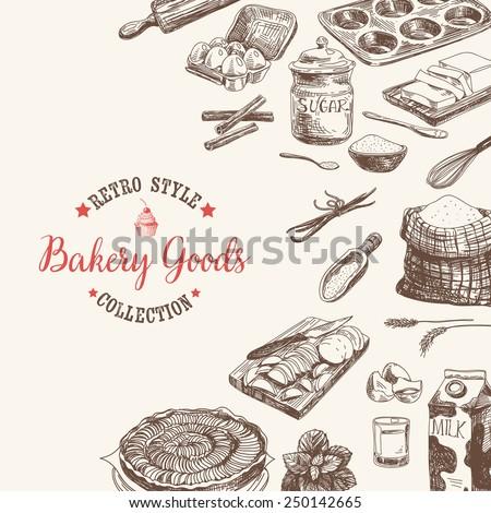 Vector bakery retro background. Vintage Illustration with milk, sugar, flour, vanilla, eggs, mixer, baking powder, rolling, whisk, spoon vanilla bean, butter and kitchen dish. - stock vector