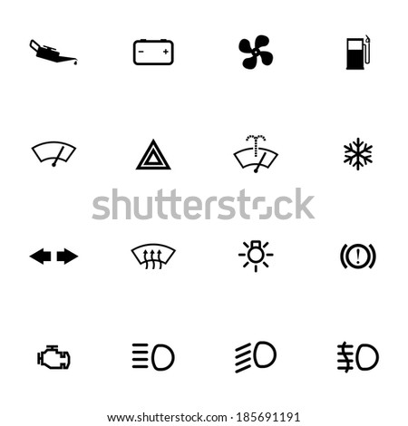 Vector balck car dashboard icons set on white background - stock vector