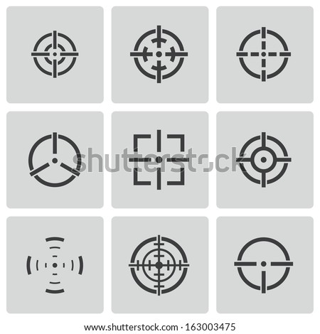 Vector balck crosshair icons set white background - stock vector