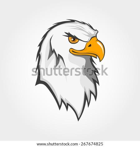 vector bald eagle bird head draw symbol icon - stock vector