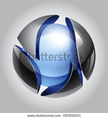vector ball of metal-glass - stock vector